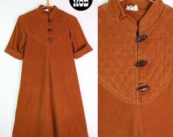Cool Vintage 70s Caramel Colored Brown Corduroy Hippie Boho Dress