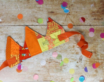 IVY Patchwork Fabric Crown in orange