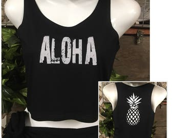 "Crop Tank Top- ""Aloha"" with Pineapple"