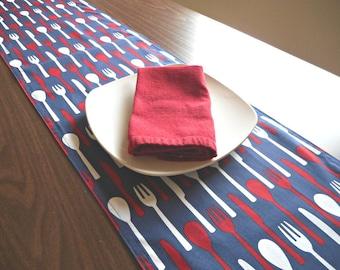 Kitchen Table Runner Utensils Red White Blue Patriotic Fourth of July Modern Reversible Summer Buffet Picnic