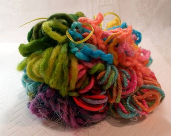 "Art Yarn Assortment Thick and Chunky ""Texture-way"", Plush, Card Making, Weaving and Art Quilting Materials- Ready to Ship"
