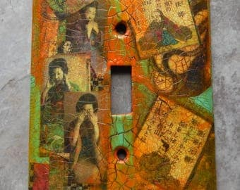 See, Hear and Speak no Evil, Oriental style mixed media switch plate cover, orange, green, toggle switch plate