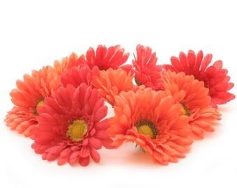 10 Orange Daisies- Artificial Flowers, Silk Flower Heads