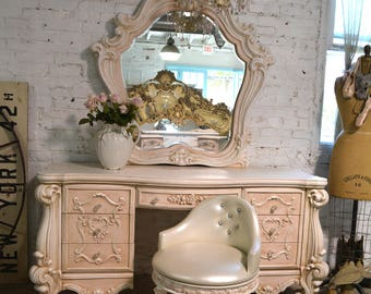 Painted Cottage Chic Shabby Romantic Vanity and Mirror VAN762