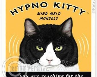 11x14 Cat Art - Hypno Kitty Mind Meld Morsels -  Art print by Krista Brooks