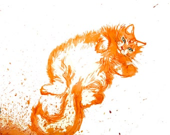 minimalist watercolor print: Orange Cat