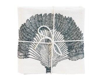 Traveler's Palm Illustrated Flour Sack Towel, Natural Cotton Screen-Printed Tea Towel, Large Botanical Dish Towel by SKT Ceramics on Etsy