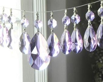 Lot of 18 Vintage Purple Tear Drop Glass Chandelier Wall Sconce Candle Pendants Prisms Lamp Parts SunCatcher