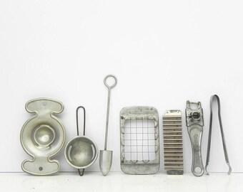 7 vintage aluminum kitchen tools utensils