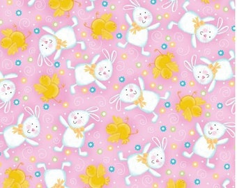 Quilting Treasures - A Joyful Easter - Bunnies & Chicks - Pink - Fabric by the Yard 23717-P