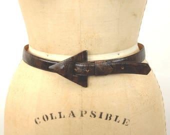 Pierre Cardin belt croco-calf brown leather with arrow buckle modern belt Italian Size M