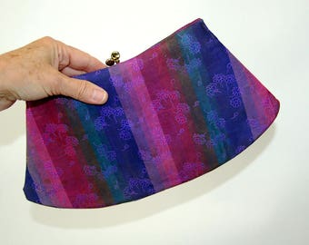 1950s clutch fabric striped purple blue green embroidered floral