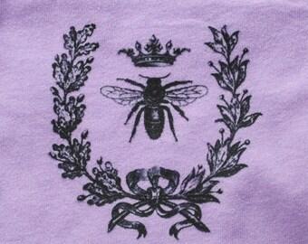 Queen Bee Baby Bodysuit - One Piece - Baby Shower Gift - Vintage Bee, Laurel Wreath, Lavender, Garden
