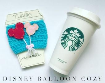 Disney coffee cup cozy, teacher gift, coffee sleeve, Minnie Mouse, disney vacation, disney starbucks cup cozy, mickey balloon, disneyland