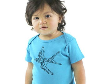 Bird Baby Shirt, Flying Swallow infant Onepiece Bodysuit, Baby Bird tshirt, Short Sleeved Romper, Organic Cotton, Made in USA, Sustainable
