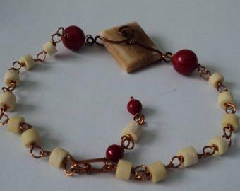 OOAK Vintage Bone & Red Coral Adjustable Bracelet