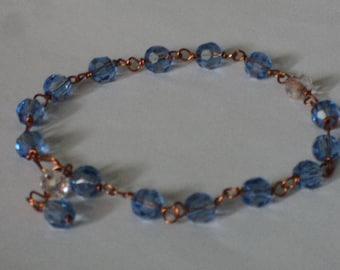 OOAK Blue & Transparent Crystal Adjustable Bracelet Wire-Wrapped