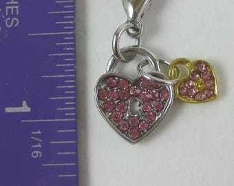 Purse or Planner charm pink crystal rhinestone silver and gold hearts lobster clasp tibetan silver travelers notebook TN Midori Erin Condren