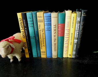 Books for Decor - Yellow Blue Grey Books by Color - Instant Library Vintage - Colorful Books