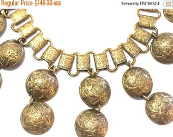 CIJ SALE Christmas JULY Stunning Victorian Ornate Brass Disc Book Chain Vintage Antique Necklace