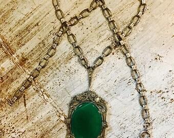 CIJ SALE Christmas JULY German Art Deco Sterling Silver Green Chrysoprase Marcasite Vintage Antique Necklace Art Deco Jewelry