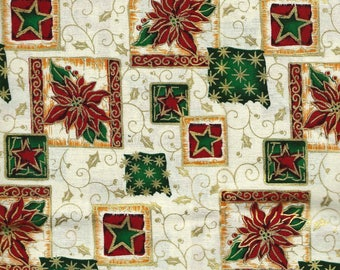 """CHRISTMAS FABRIC Cotton Fabric, 1 yard x 42"""" inches wide.  Brand new."""