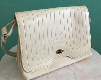 vintage 60's cream satchel handbag