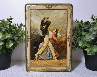vintage Tin Container, Sexy Flamenco Dancers, Man, Woman by Vidal. Humphries Ltd., Sunrise Circle, N'dabeni Cape * 2 lbs. Nett hinged lid.