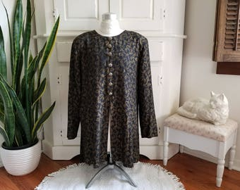 Vintage Just In Thyme Ltd. Long Sleeved Tunic, Size 12. Black & Gold. Side and Front Slits. Holiday Christmas Party, Work, Dressy, Classic.