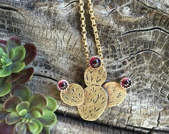 Prickly pear cactus southwest style jewelry cactus necklace deep red garnet stones textured brass desert dweller cactus jewelry brass cactus