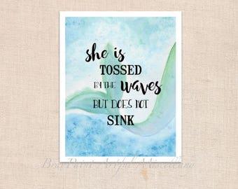 """Persistent Mermaid - Art Print of original watercolor painting - 8"""" x 10"""""""