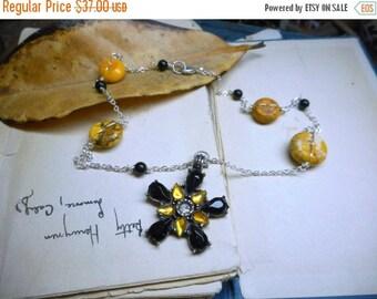 SALE Queen of The Yellowjackets Boho Necklace. Black & Yellow Rhinestone Gothic BLossom, Black Onyx Yellow Magnesite stone BOHO Handmade OOA
