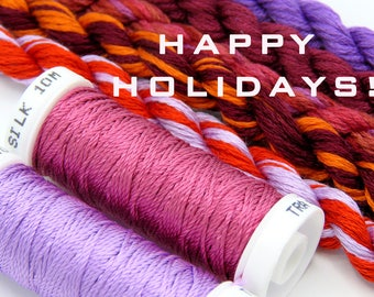 Free Design, PDF, Silk thread, needlepoint design, silk fibers, embroidery thread assortment, red, purple, hand dyed thread, holiday gift