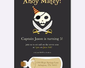 Jolly Roger Pirate Invitation, Kid's Birthday Party Invitation, Boy Birthday Party Invitation, Pirate Party Invitation
