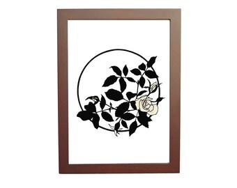 rose art print, floral art, flower art print, papercut art print, cut paper art, papercutting art, papercut art, 5 x 7 print, 8 x 10 print