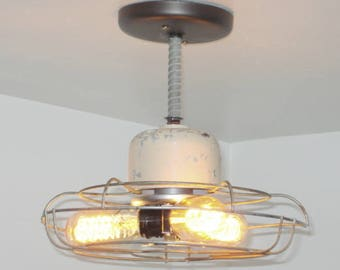 INDUSTRIAL LIGHT Vintage Ivory Fan Ceiling Flush Mount Farmhouse Lamp Edison Bulbs & Motor Housing Lighting Fixture Rustic LampGoods