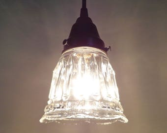 Delicate Vintage Clear PENDANT Light with Crystal Relief Design - Ceiling Flush Mount Lighting Fixture Kitchen Island Lamp Goods
