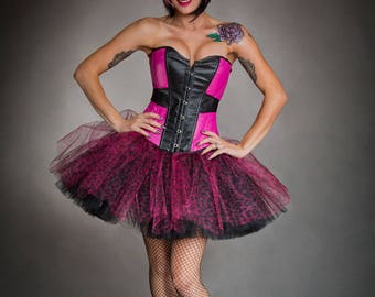 Size medium Black and hot pink leopard tulle Burlesque Corset Prom Dress Ready to Ship
