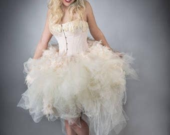 Size large Peach and ivory lace Feather tulle burlesque corset prom dress tea length Ready to Ship