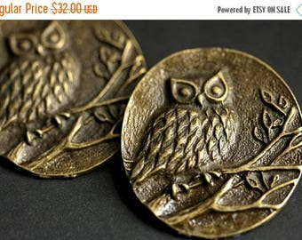 SUMMER SALE Two (2) Norse Shoulder Brooches. Owl Brooches. Bronze Apron Pins. Bronze Viking Brooches. Owl Jewelry. Historical Reenactment Je