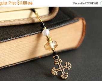 HOLIDAY SALE Christian Bookmark. Beaded Bookmark. Christian Cross Bookmark. Amber Bookmark. Cross Book Charm. Bible Bookmark. Handmade Bookm
