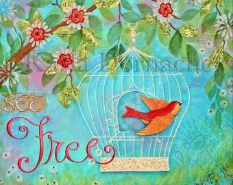 "25% OFF PRINTS Set Free Scripture Art Print - 8""x8"" - Bible Verse Wall Art Mixed Media Original Painting"