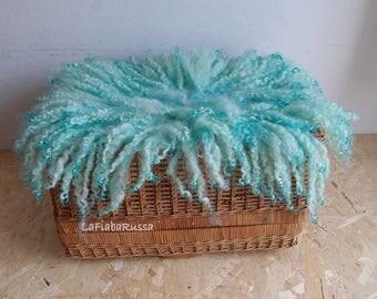 newborn props mint curly newborn basket stuffer blanket baby props Layer wool curly Posing blanket uk layer basket filler flokati newborn