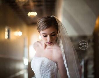 Cathedral Veil, Wedding Veil, Bridal Veil, Ribbon Edge Veil, Romantic Veil, Simple Veil, Long Veil, Veil with Trim, Veil with Ribbon