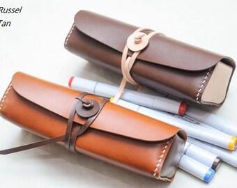 Ho-Ho-Sew Genuine Leather Pencil Case Pen Holder Makeup Case DIY Kit