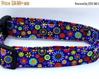 ON SALE Funky Flowers Lime Green Red Blue Purple Spring Floral Dog Collar