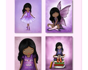 African American Girls Room Decor, Wall Art Posters,Purple Decoration for the Nursery,Toddler Art Prints,Ballerina Wall Art,Angel Room Decor