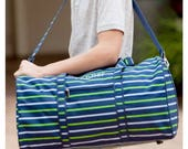 Blue Stripe Duffle Bag, Monongrammed Duffle, Boy Overnight Bag, Boy Duffle, Striped Tote, Boy Tote, Blue Weekend Bag