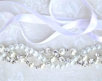Pearl Bridesmaid Bracelet, Rhinestones and Ribbon Color Your Choice, Swarovski Junior Bridesmaid Wedding Jewelry White Pearls with Silver