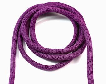 Purple silk cord, purple woven cord, 8mm braided cord, bookbinding cord (1m)